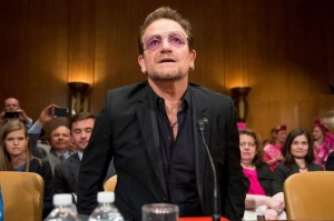 Irish rock star and activist Bono arrives on Capitol Hill in Washington, Tuesday, April 12, 2016, to testify before the Senate State, Foreign Operations, and Related Programs subcommittee hearing on the causes and consequences of violent extremists, and the role of foreign assistance. (AP Photo/Andrew Harnik)